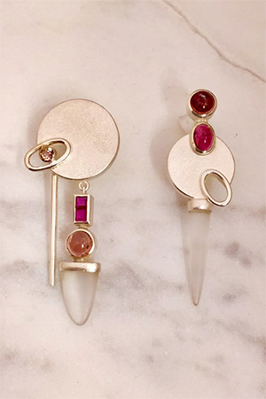 Janis Kerman - Silver, Crystal, Tourmaline & Ruby Earrings