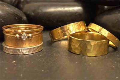 Imprinted Hammered Gold Wedding Rings