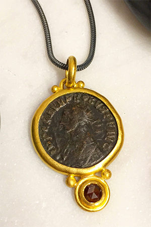 Melissa Jerome Coin Pendant with Diamond