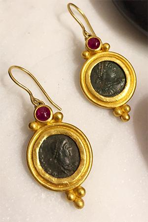 Andrea Jerome - Ruby Coin Earrings